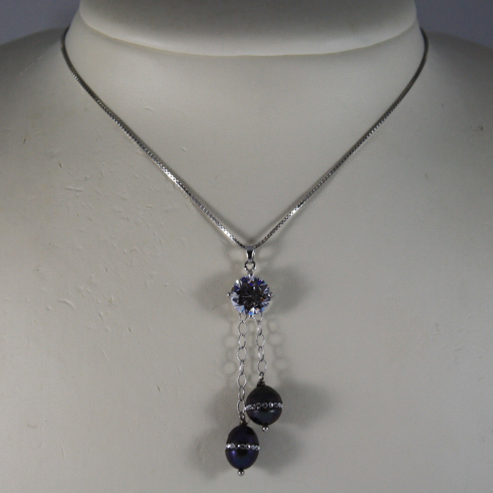 .925 RHODIUM NECKLACE WITH TWO GRAY PEARL WITH ZIRCONS AND CENTRAL CRISTAL