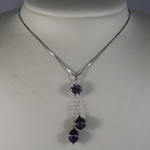 .925 RHODIUM NECKLACE WITH TWO GRAY PEARL WITH ZIRCONS AND CENTRAL CRISTAL image 1