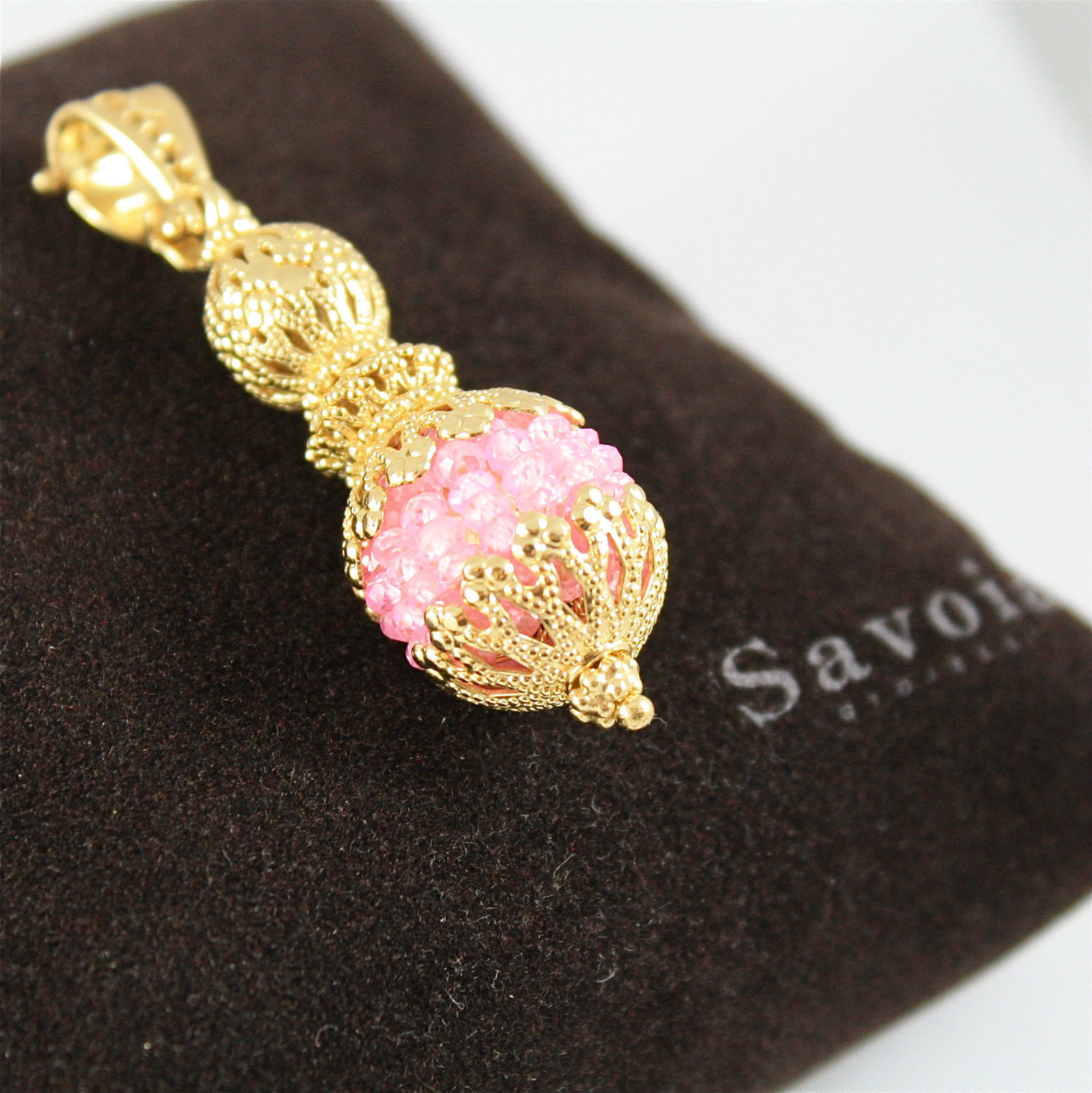 925 SILVER PENDANT PL. GOLD FACETED PINK SALOMITE MADE IN ITALY BY SAVOIA JEWELS