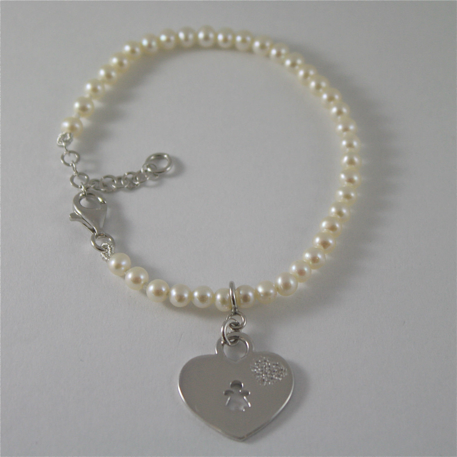 925 SILVER BRACELET WITH HEART AND GIRL PENDANT AND WITH FW WHITE PEARLS STRING