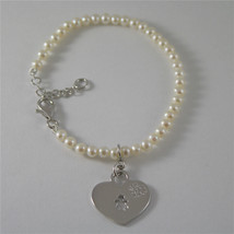 925 SILVER BRACELET WITH HEART AND GIRL PENDANT AND WITH FW WHITE PEARLS STRING image 1
