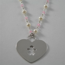 925 RHODIUM SILVER NECKLACE WITH FW WHITE PEARLS AND HEART GIRL PENDANT 18.90 IN image 1