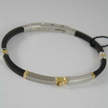 18K YELLOW GOLD DIAMOND STAINLESS STEEL SILICON BRACELET BY ZANCAN MADE IN ITALY