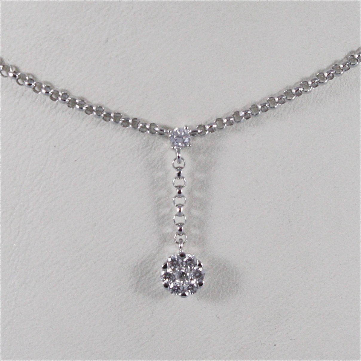 18K WHITE GOLD NECKLACE, FLOWER PENDANT WITH DIAMONDS CT 0.23, MADE IN ITALY