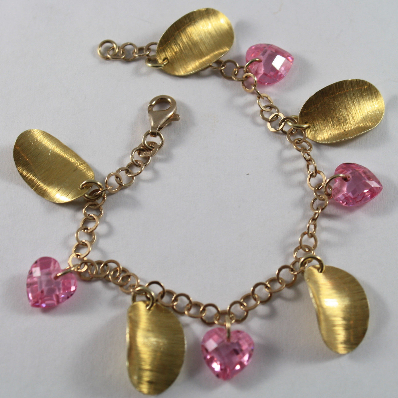 .925 RHODIUM SILVER  YELLOW GOLD PLATED BRACELET WITH CRISTAL PINK HEARTS
