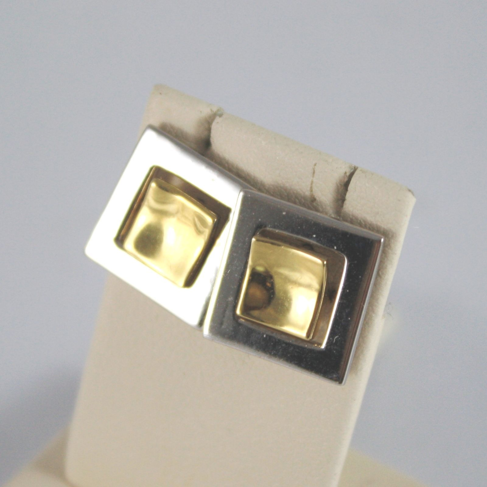 18K SOLID YELLOW AND WHITE GOLD EARRINGS WITH DOUBLE SQUARE MADE IN ITALY 18K