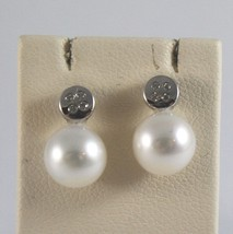 18K SOLID WHITE GOLD EARRINGS WITH FRESHWATER PEARLS AND DIAMONDS CT. 0,06
