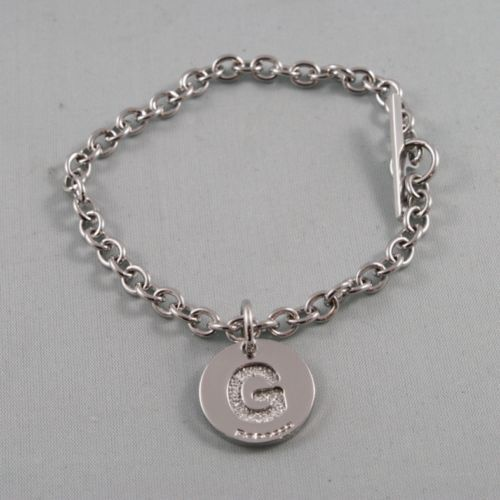 "RHODIUM-PLATED BRONZE BRACELET WITH LETTER ""G"" PENDANT BY REBECCA MADE IN ITALY."