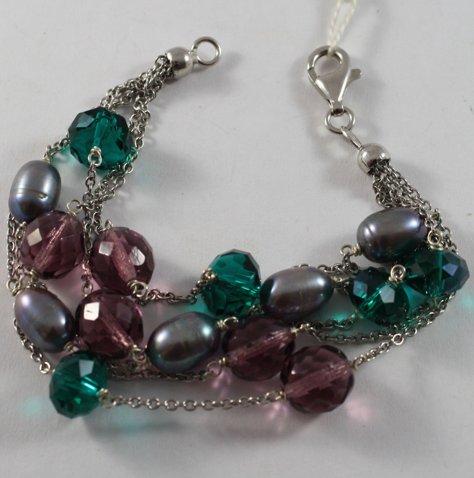 .925 RHODIUM SILVER MULTI STRAND BRACELET WITH GRAY PEARLS AND CRISTAL GREEN