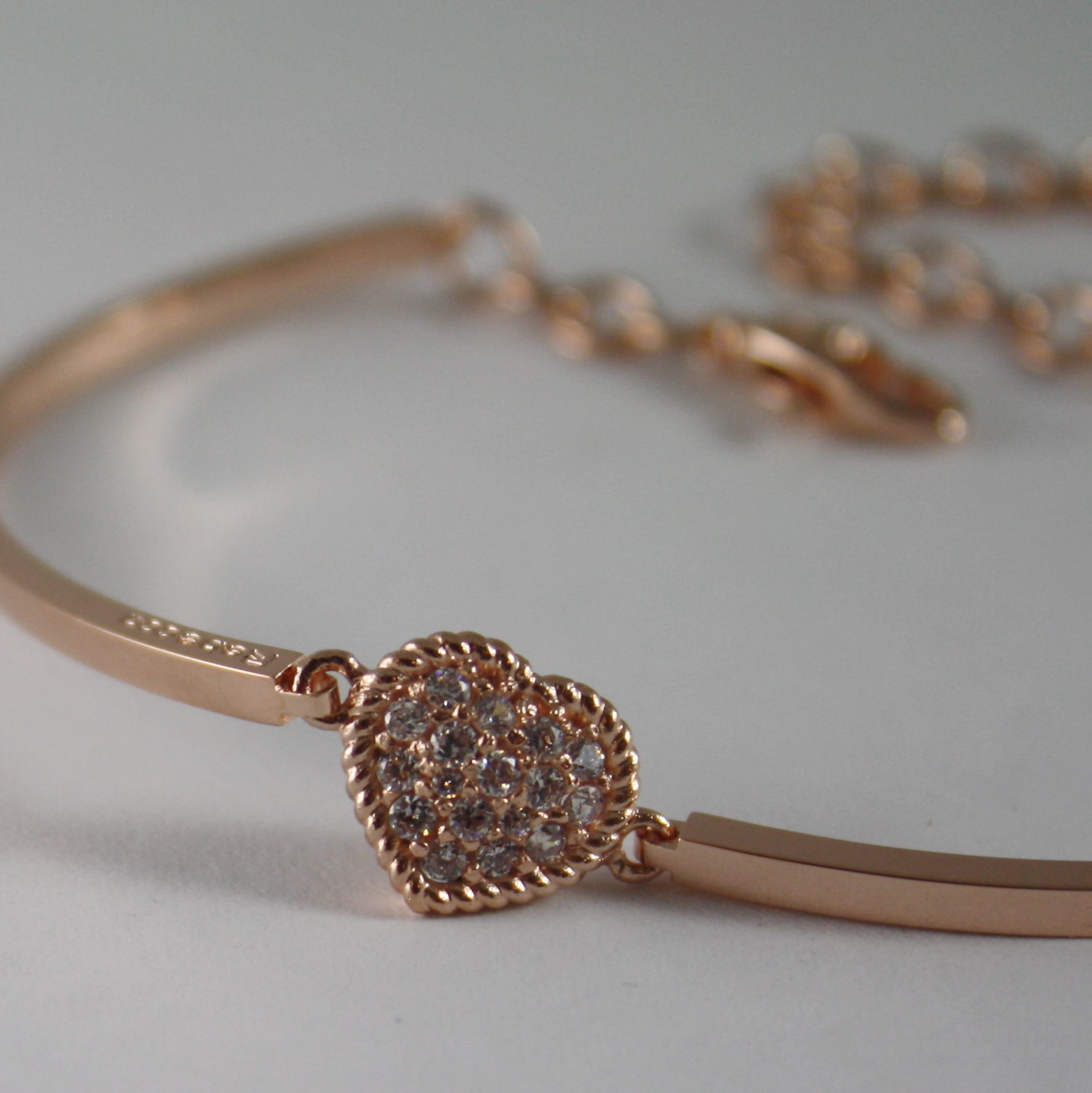 ROSE BRONZE BRACELET SEMI RIGID TENNIS HEART B14BRB04, BY REBECCA MADE IN ITALY.