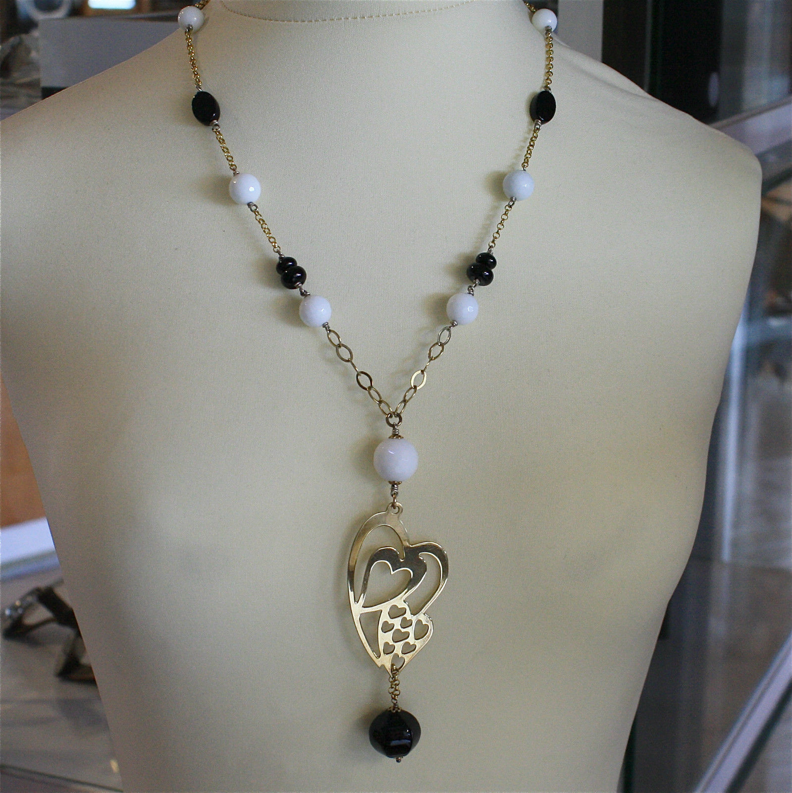 .925 RHODIUM SILVER NECKLACE, SCARF, BLACK ONYX, WHITE AGATE, YELLOW GOLD PLATED