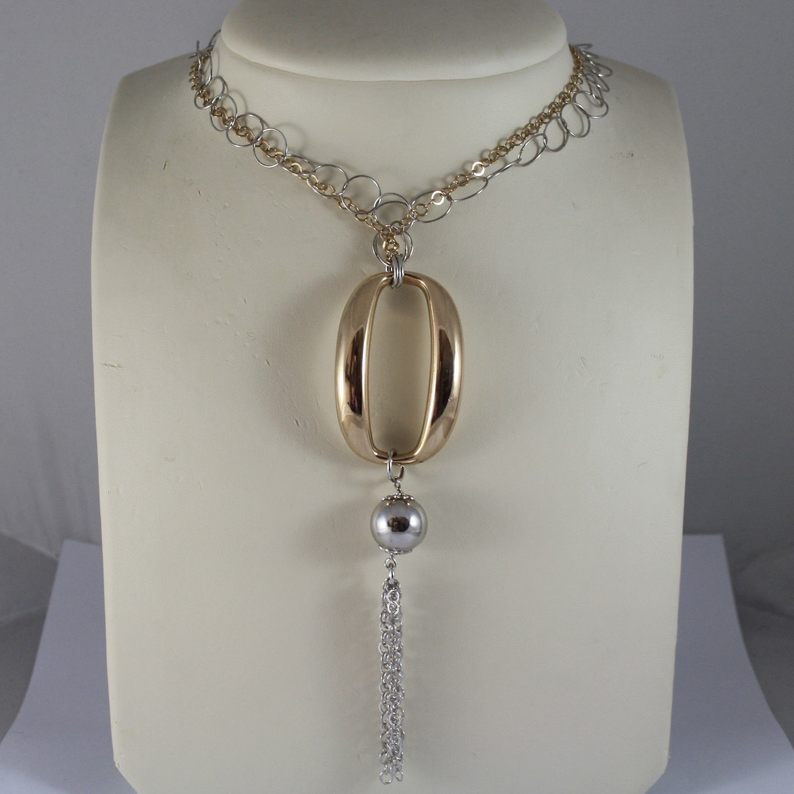.925 RHODIUM SILVER YELLOW GOLD PLATED, MULTI STRAND NECKLACE WITH OVAL AND BALL