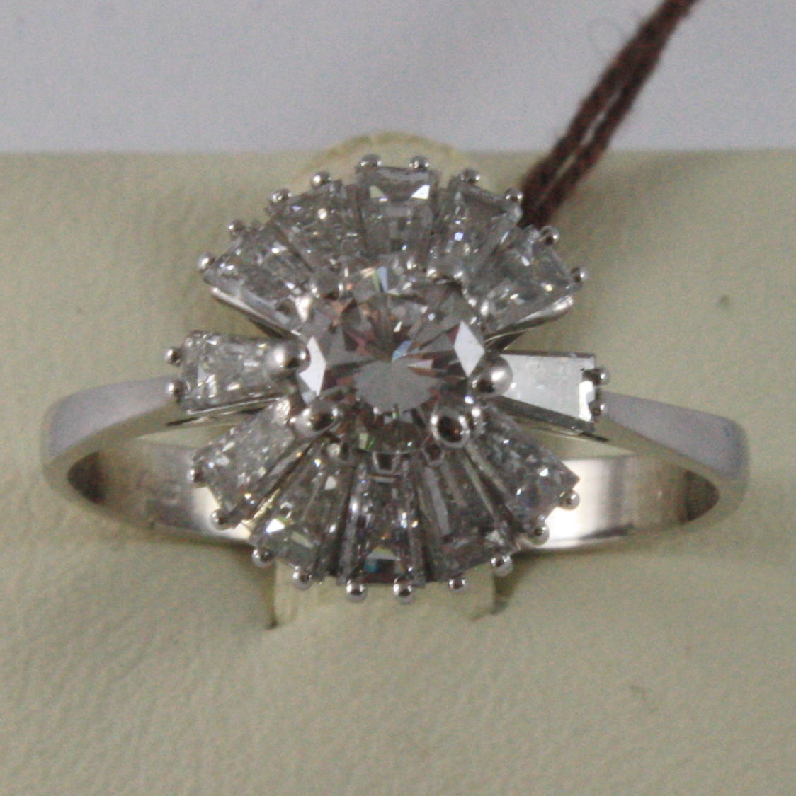 SOLID 18K WHITE GOLD SUN FLOWER ROSE RING DIAMONDS BAGUETTE CUT, MADE IN ITALY