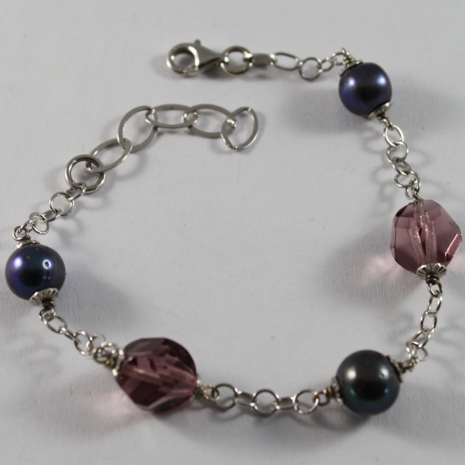 .925 RHODIUM SILVER BRACELET WITH FRESHWATER PEARL GRAY AND PURPLE CRISTALS