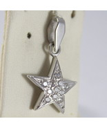 SOLID 18K WHITE GOLD STAR PENDANT WITH ZIRCONIA ROUND CUT, MADE IN ITALY - $112.57
