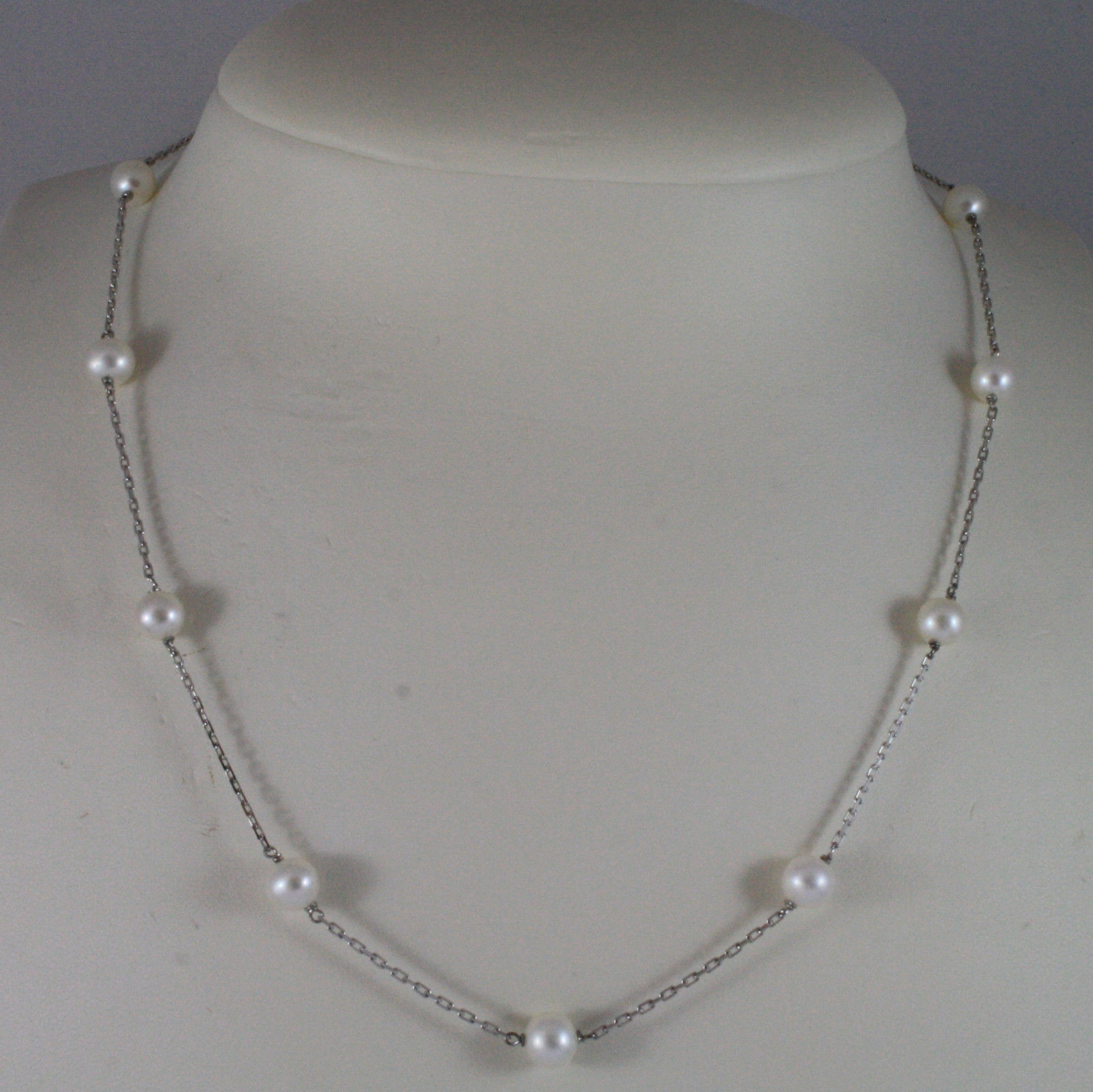 SOLID 18K WHITE GOLD NECKLACE WITH FRESHWATER WHITE PEARL MADE IN ITALY 17,91 IN