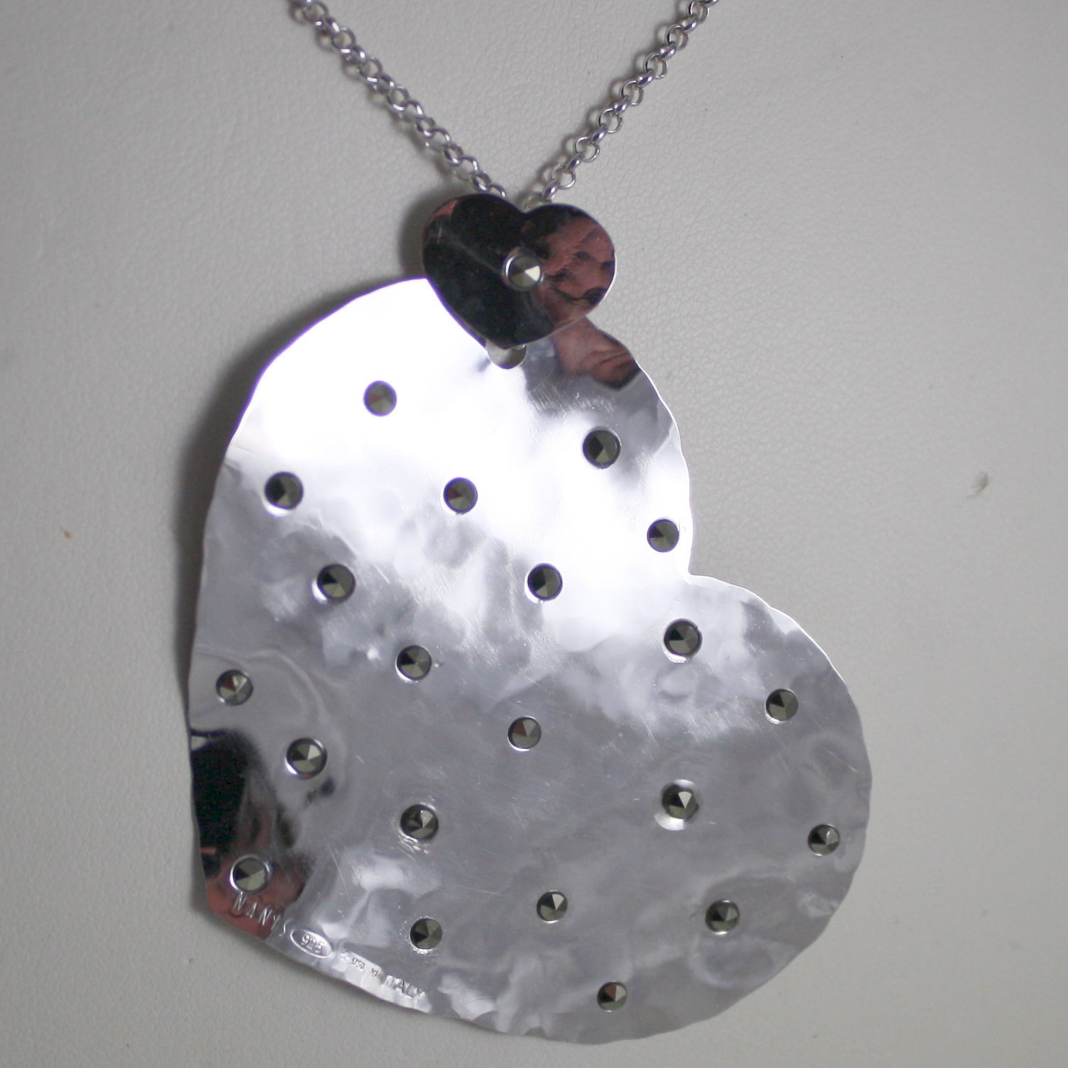 LONG NANIS NECKLACE .925 RHODIUM SILVER HEART WITH MARCASITE SATIN MADE IN ITAL