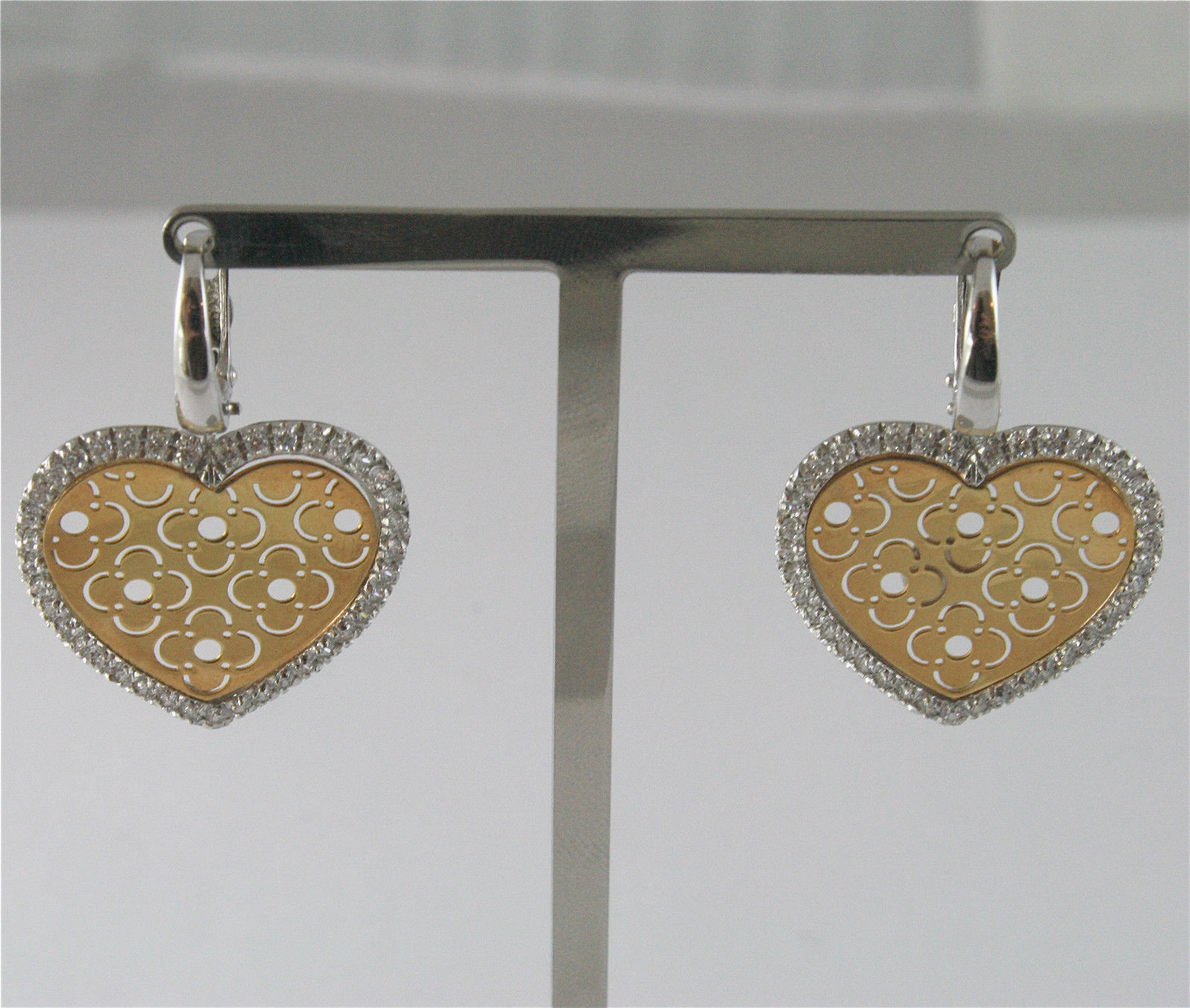 18K SOLID YELLOW AND WHITE GOLD EARRINGS WITH HEARTS PIERCED AND CUBIC ZIRCONIA