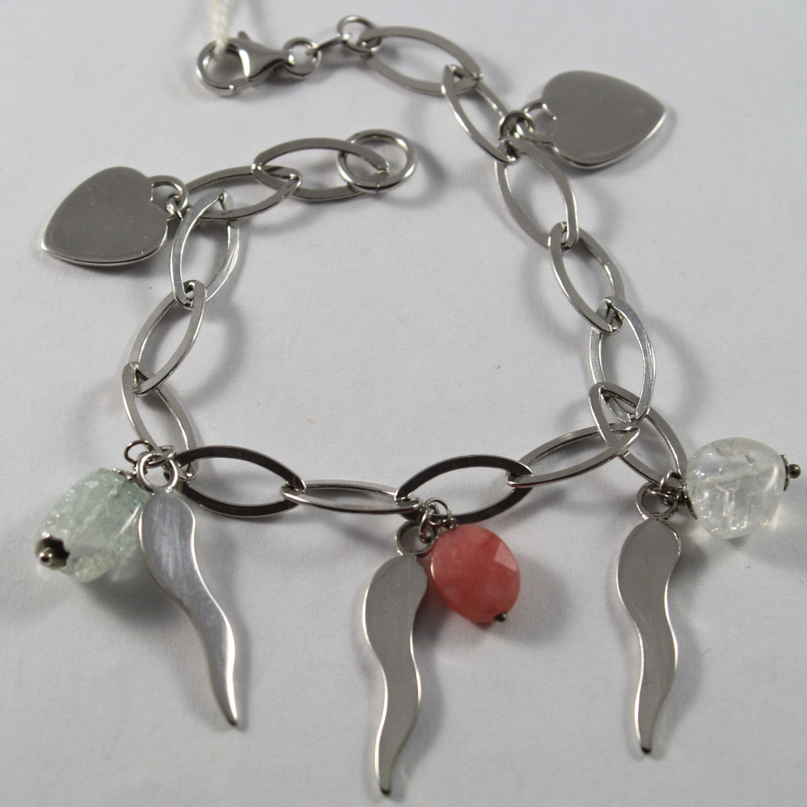 .925 RHODIUM SILVER BRACELET WITH ROSE JADE, CRACK CRISTAL , HEARTS AND HORNS