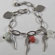 .925 RHODIUM SILVER BRACELET WITH ROSE JADE, CRACK CRISTAL , HEARTS AND HORNS image 1
