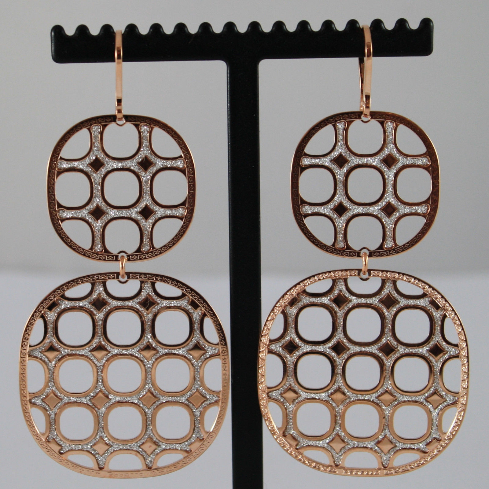 ROSE GOLD PLATED BRONZE REBECCA EARRINGS WITH SQUARES B700RB13 LENGTH 2,9 INCHES