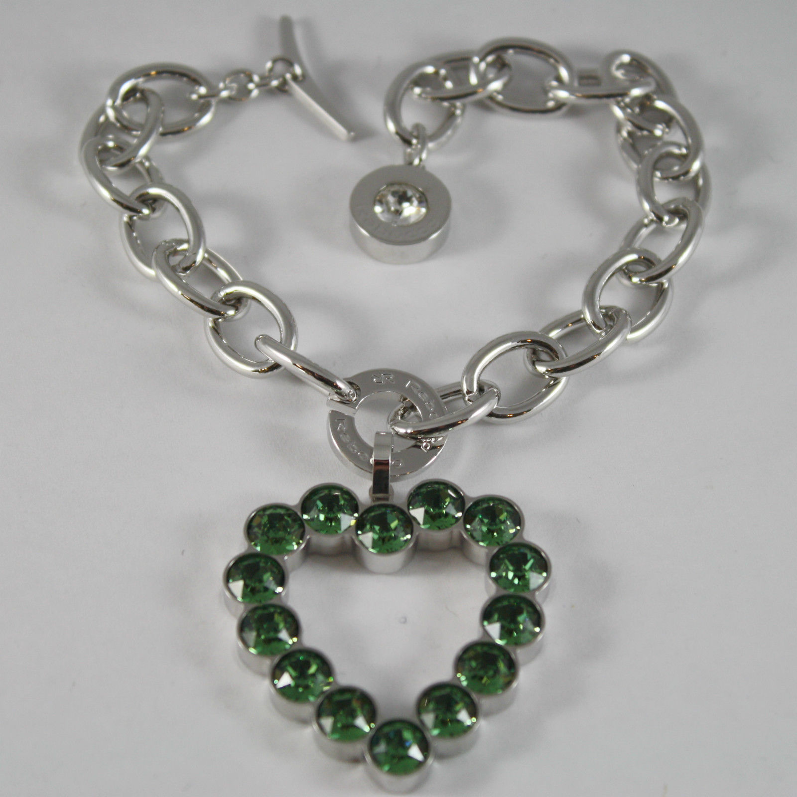 RHODIUM BRONZE REBECCA BRACELET BIG HEART WITH GREEN CRYSTAL CT 15 MADE IN ITAL