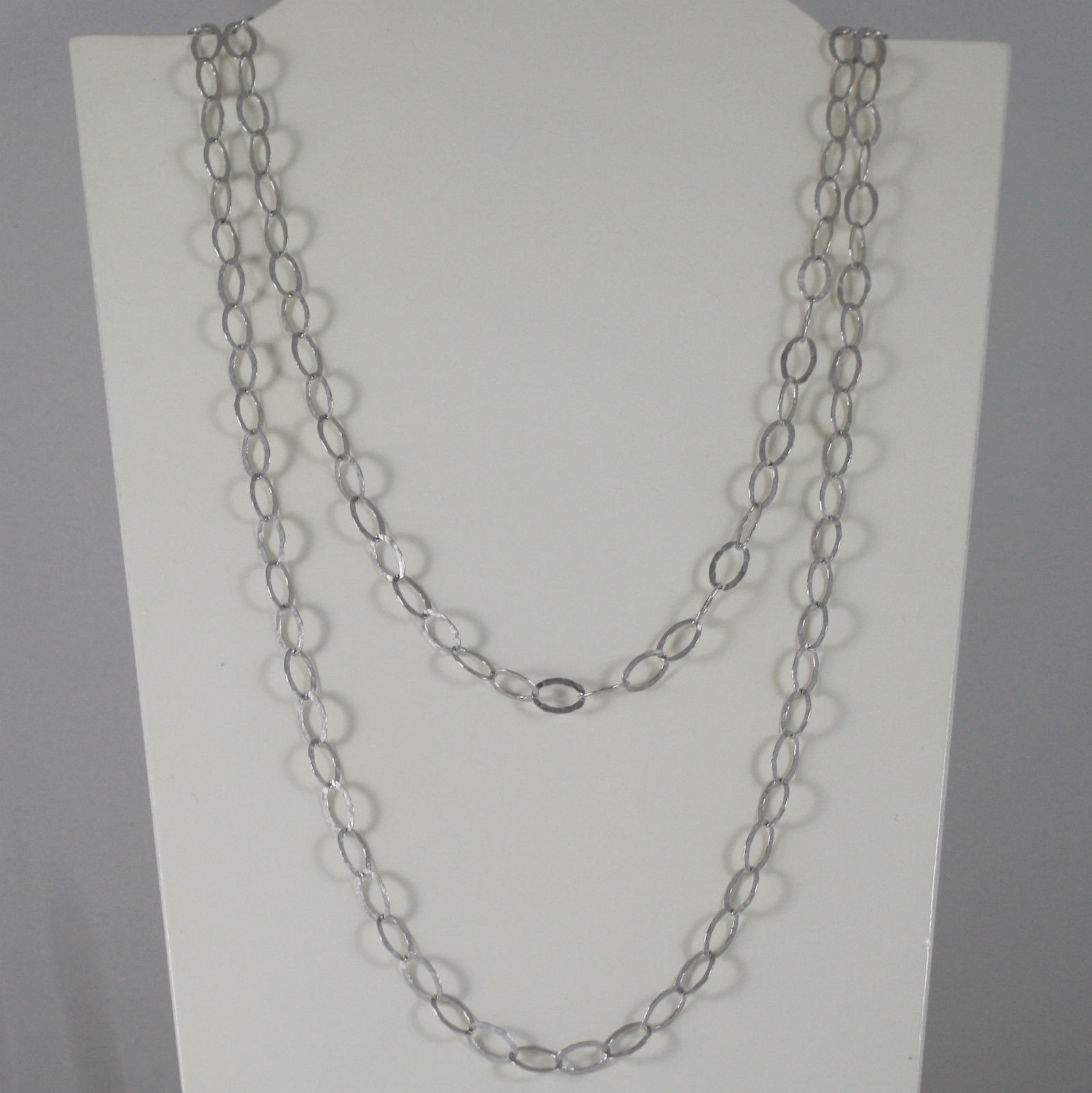 SOLID 925 SILVER NECKLACE LONG OVAL CHAIN FINELY HAMMERED BY NANIS MADE IN ITALY