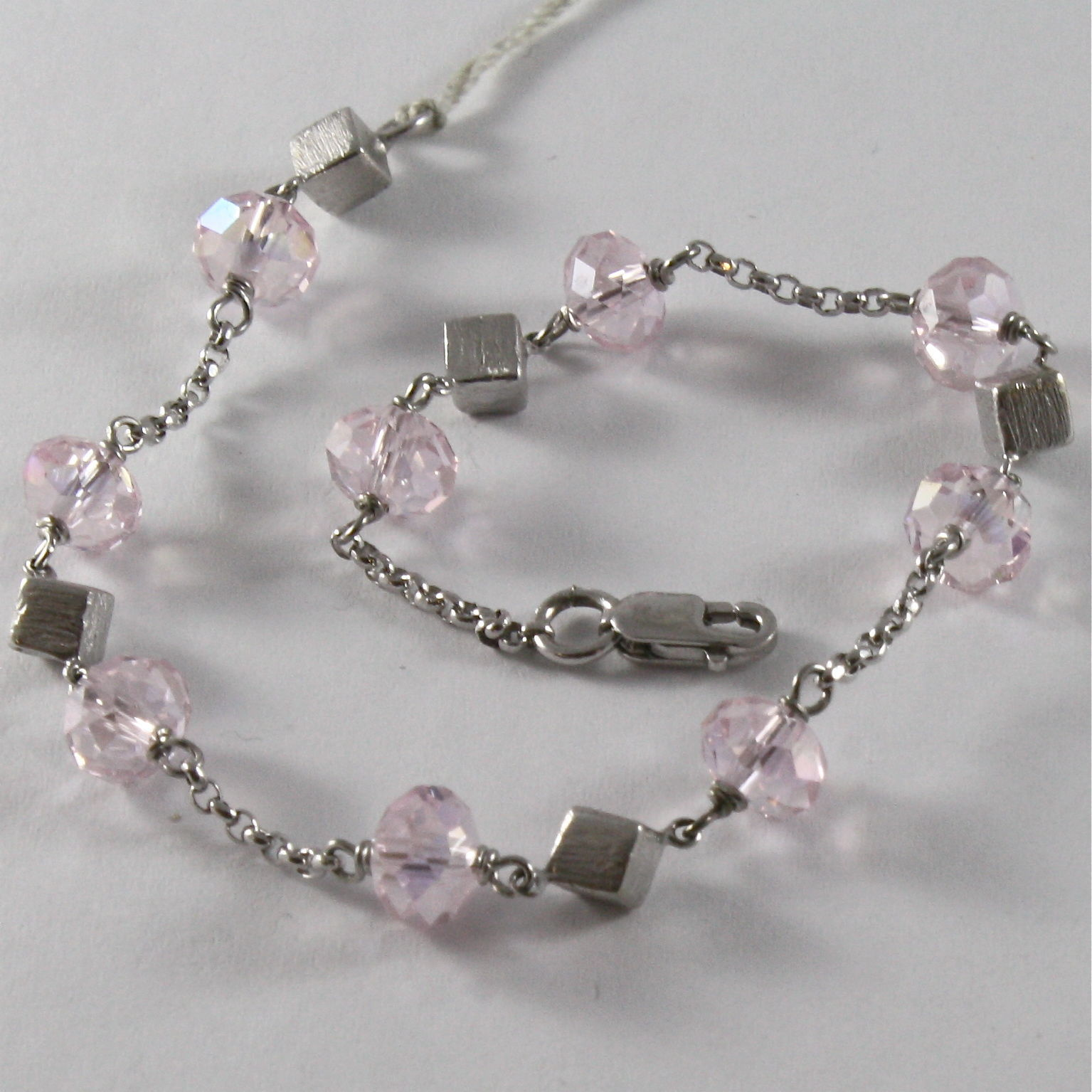 SOLID 18K WHITE GOLD BRACELET WITH PINK FACETED CRISTALS, CRISTAL MADE IN ITALY