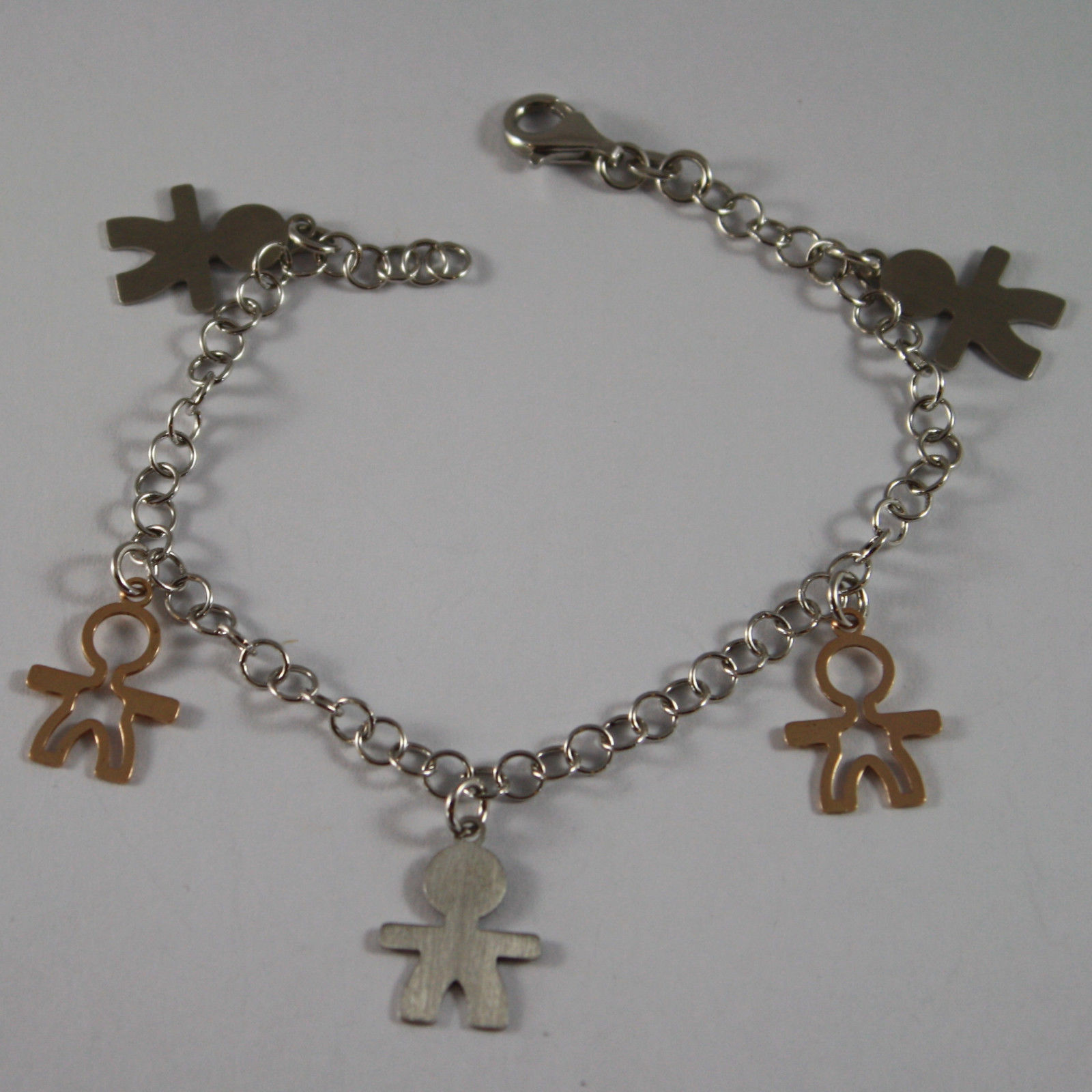 .925 RHODIUM SILVER AND ROSE GOLD PLATED BRACELET WITH A CHILDREN'S CHARM