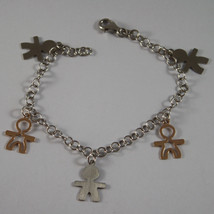 .925 RHODIUM SILVER AND ROSE GOLD PLATED BRACELET WITH A CHILDREN'S CHARM image 1