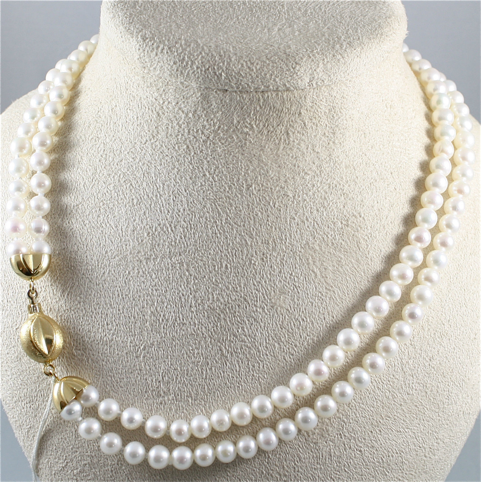NECKLACE WITH TWO-WIRE WHITE PEARLS DIAMETER .26 In, 18K 750 YELLOW GOLD CLOSURE