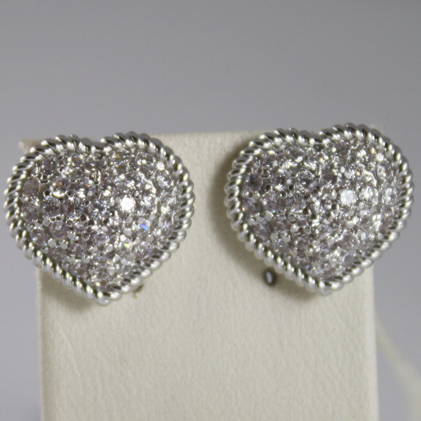 RHODIUM BRONZE EARRINGS HEART, CUBIC ZIRCONIA B14OBB58, BY REBECCA MADE IN ITAL