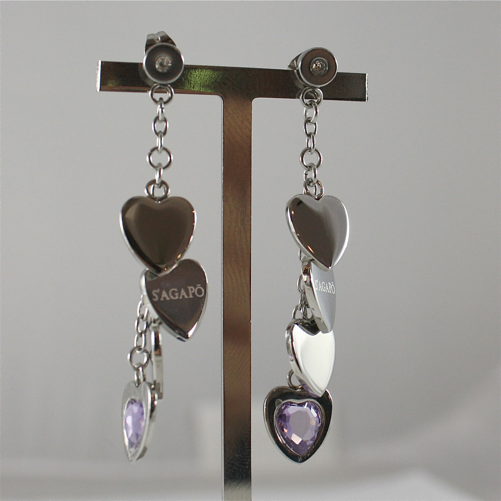 S'AGAPO' EARRINGS, 316L STEEL, HEARTS, FACETED PURPLE CRYSTALS.