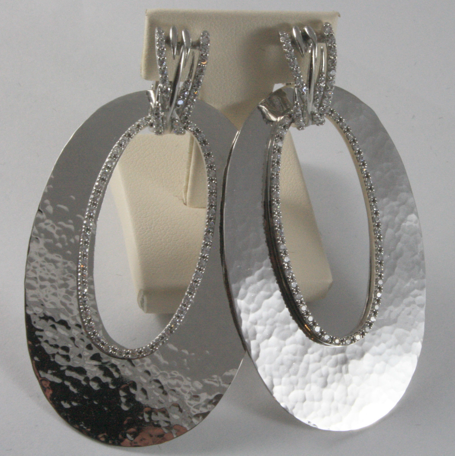 925 RHODIUM SILVER EARRINGS BIG OVAL HAMMERED, MODULAR BY NANIS, MADE IN ITALY
