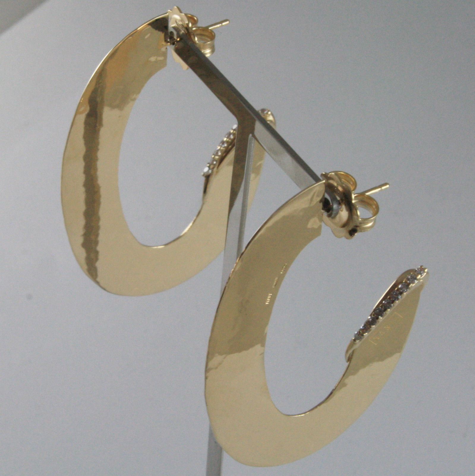 925 SILVER EARRINGS PLATED YELLOW GOLD OVAL HAND HAMMERED BY NANIS MADE IN ITALY