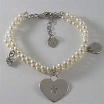 925 SILVER BRACELET WITH HEARTS AND GIRLS PENDANTS, FW WHITE PEARLS AND ZIRCONIA image 1
