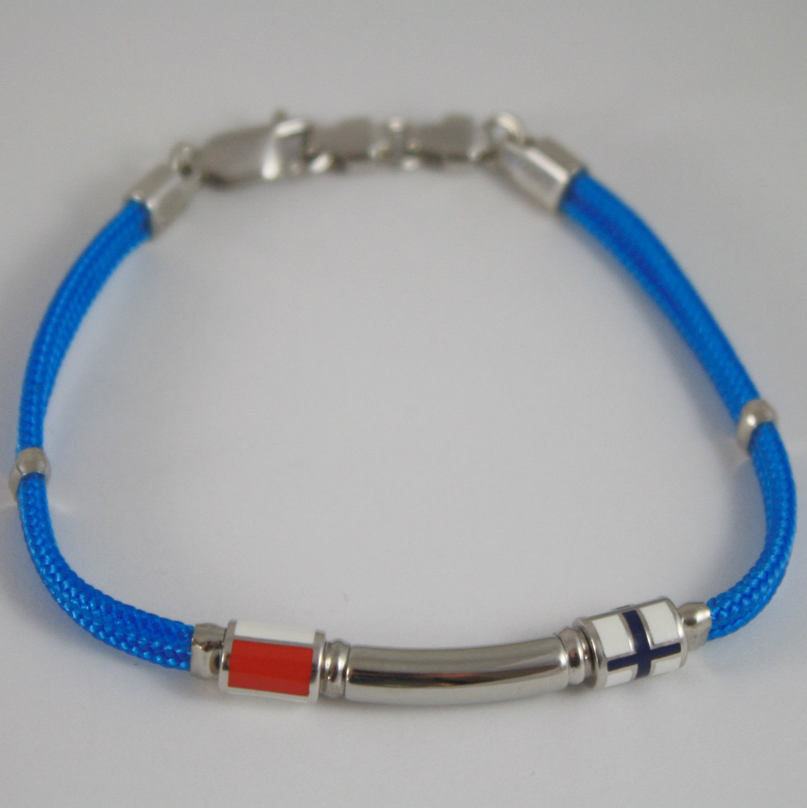 925 SILVER BRACELET NAUTICAL AZURE ROPE & 2 GLAZED FLAGS BY ZANCAN MADE IN ITALY
