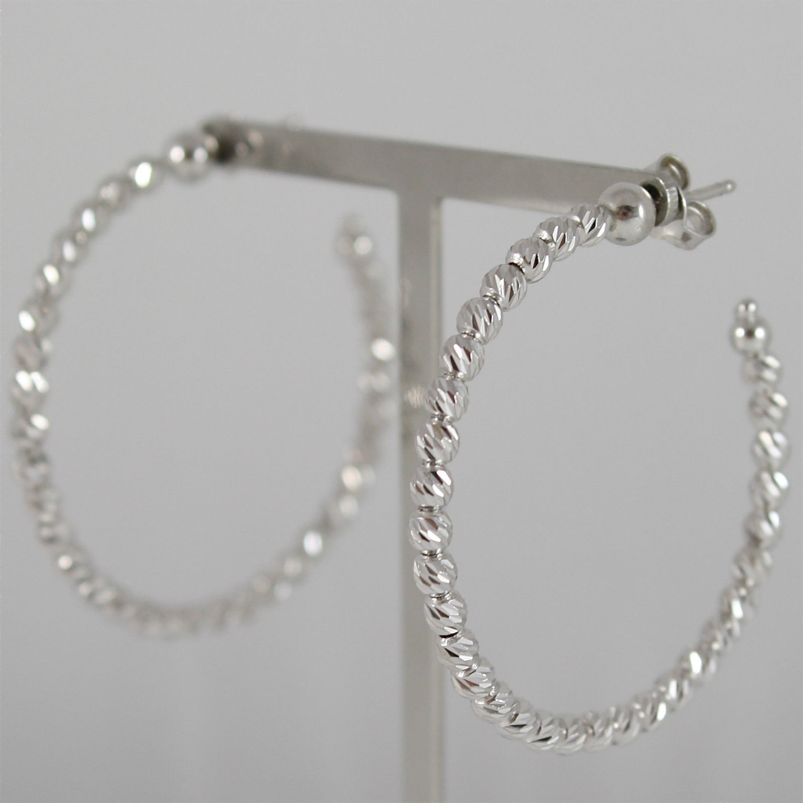 925 RODIUM SILVER OFFICINA BERNARDI EARRINGS, FACETED BALLS MADE IN ITALY 3,9 CM