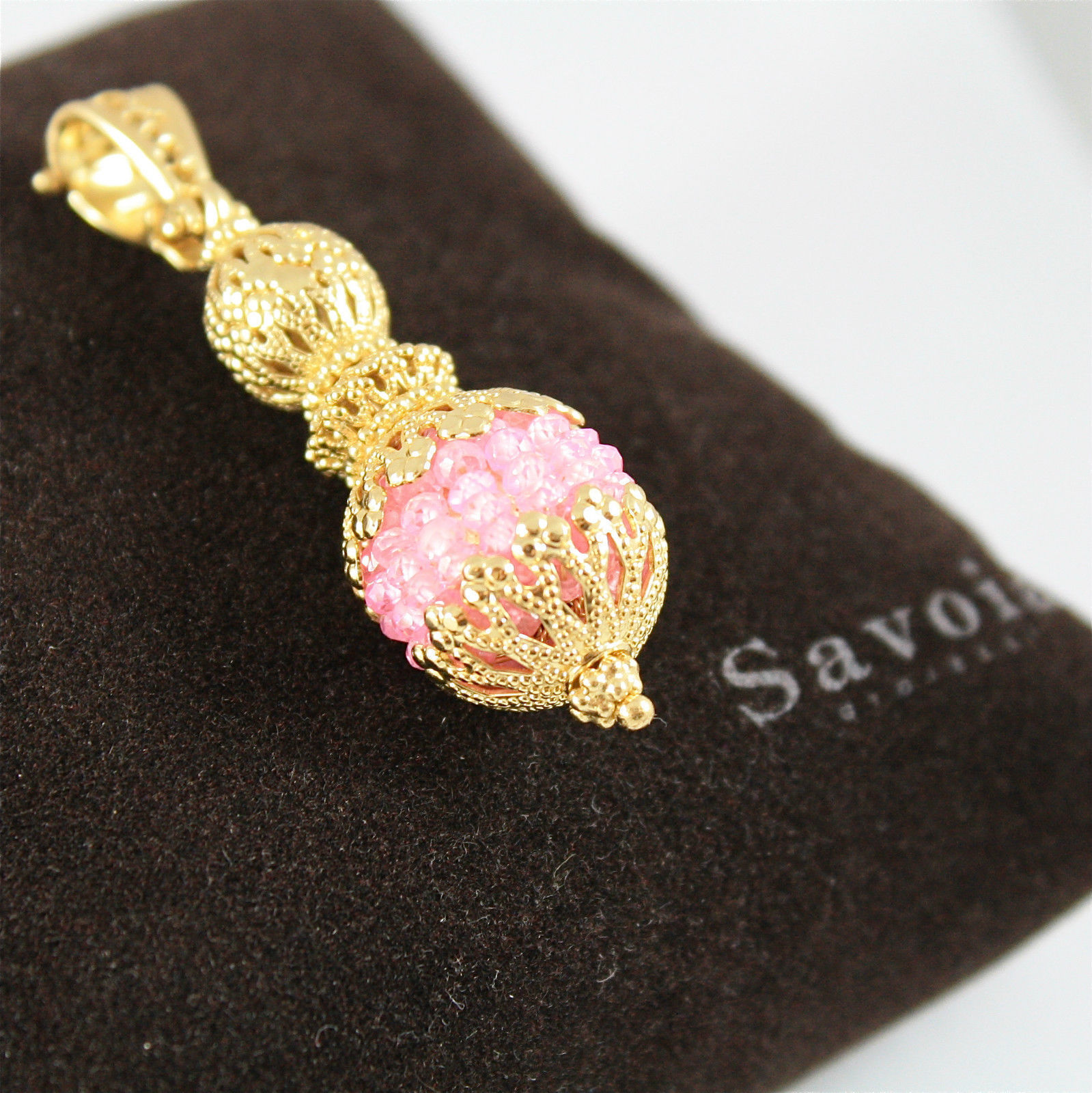 925 SILVER PENDANT PL. GOLD FACETED PINK SALOMITE MADE IN ITALY BY SAVOIA JEWEL