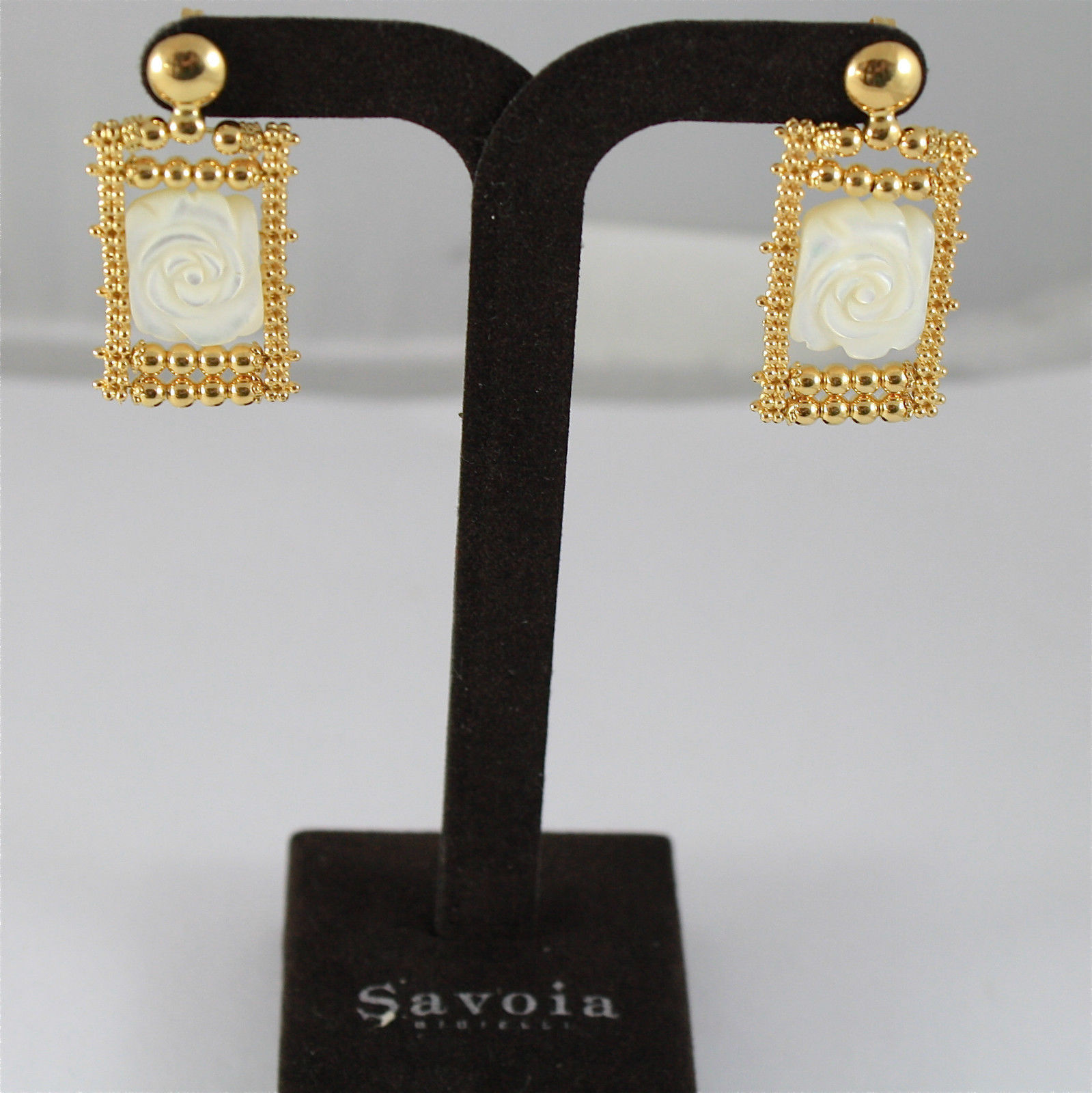 925 SILVER EARRINGS, GOLD PL,MOTHER OF PEARL, ROSE CUT, MADE IN ITALY BY SAVOIA