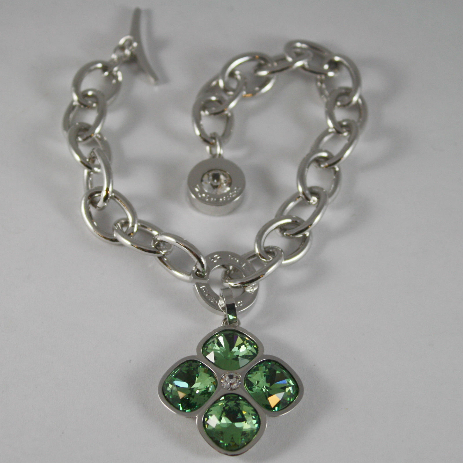 RHODIUM BRONZE REBECCA BRACELET BIG FLOWER, GREEN CRYSTAL CT 16, MADE IN ITALY.
