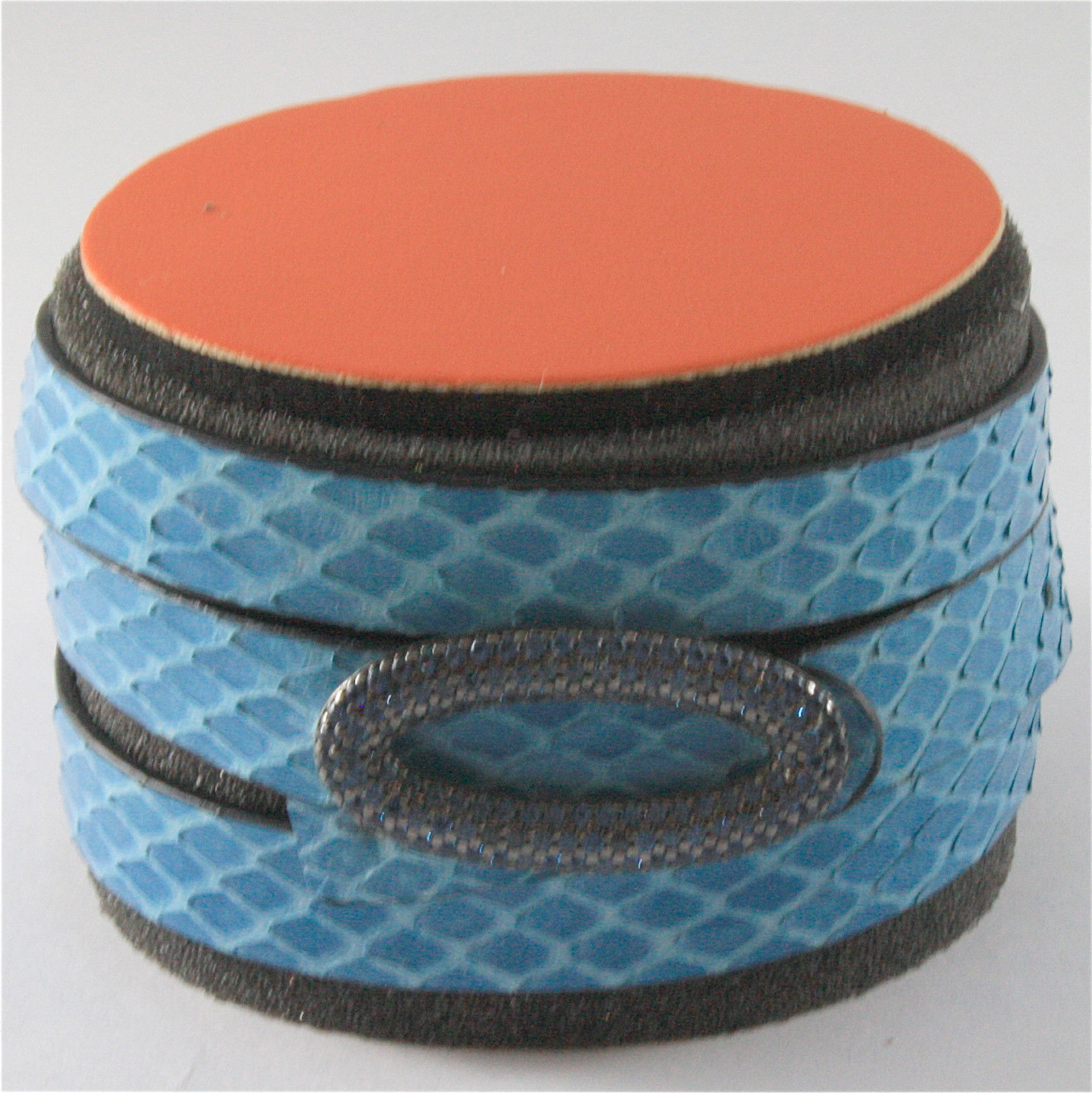 EDGY PYTHON BLUE LEATHER BRACELET WITH 925 SILVER WITH CRISTAL PAVE' SKY BLUE