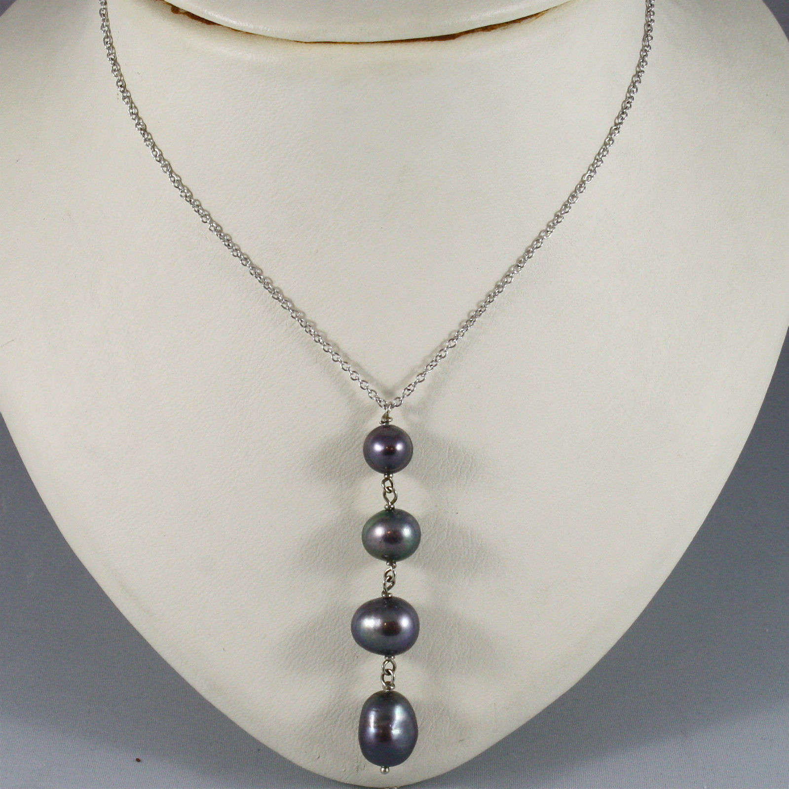 18K WHITE GOLD NECKLACE WITH PENDANT, BLACK PEARL DIAMETER 1 CM MADE IN ITALY