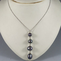 18K WHITE GOLD NECKLACE WITH PENDANT, BLACK PEARL DIAMETER 1 CM MADE IN ... - $352.45