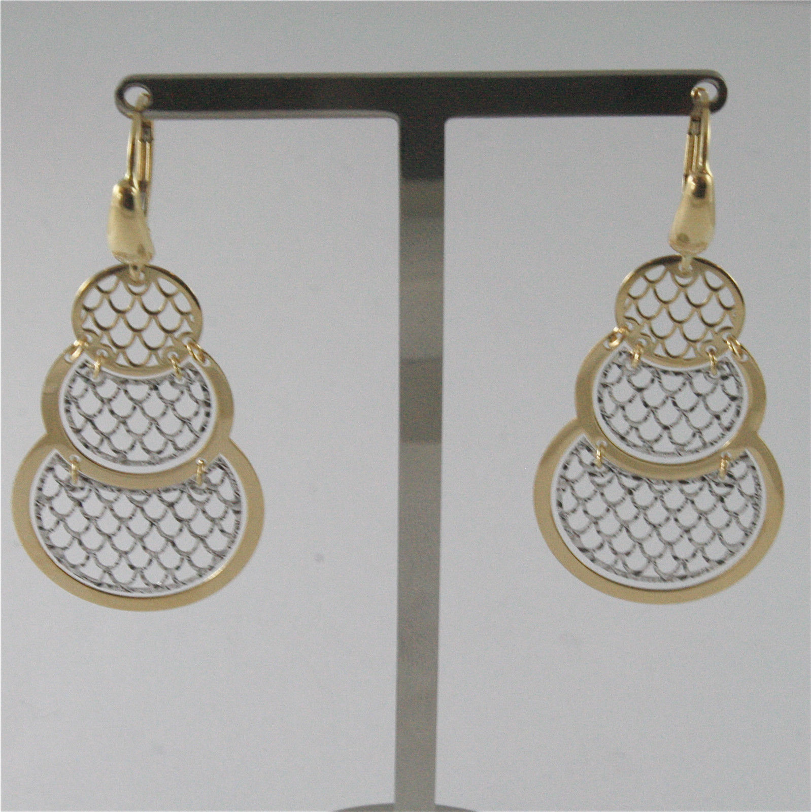 18K SOLID WHITE AND YELLOW GOLD PENDANT EARRINGS WITH NET GRID 1.97 INCHIES LONG