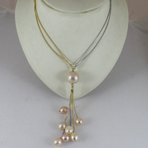 18K YELLOW WHITE GOLD NECKLACE PENDANT, ROSE PEARL DIAMETER 1,5 CM MADE ... - $829.26