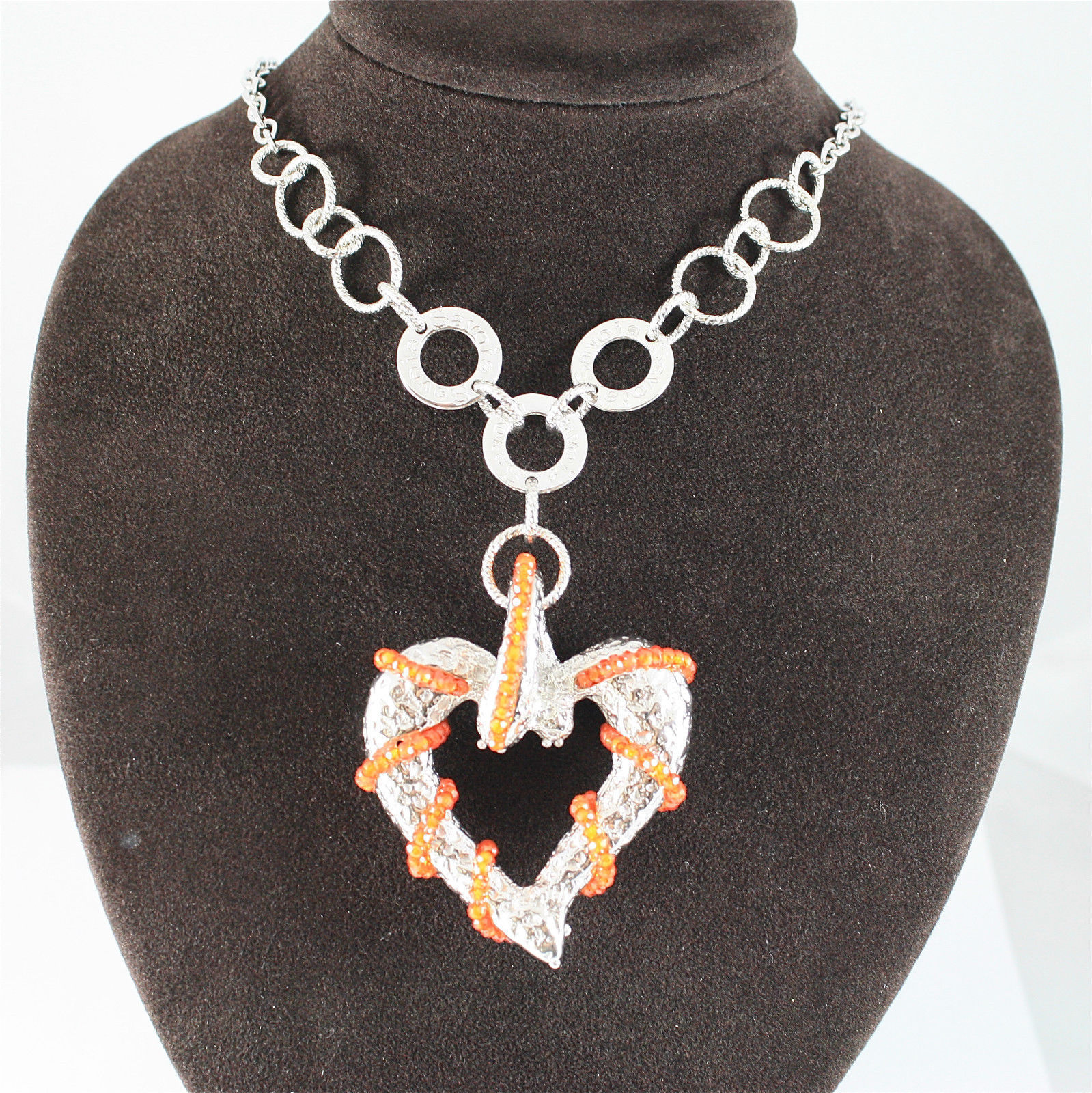 925 RHODIUM SILVER NECKLACE WITH FACETED CARNELIAN MADE IN ITALY BYSAVOIA JEWEL