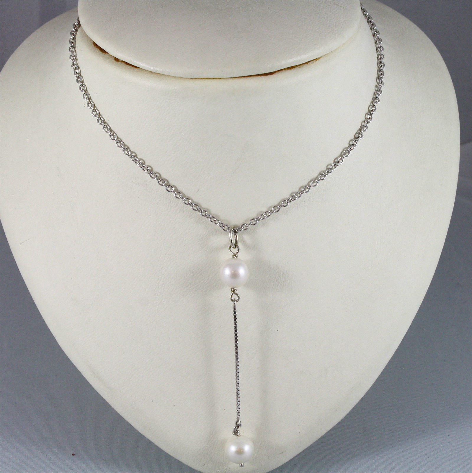 18K WHITE GOLD NECKLACE WITH PENDANT, WHITE PEARL DIAMETER 0.8 CM MADE IN ITALY