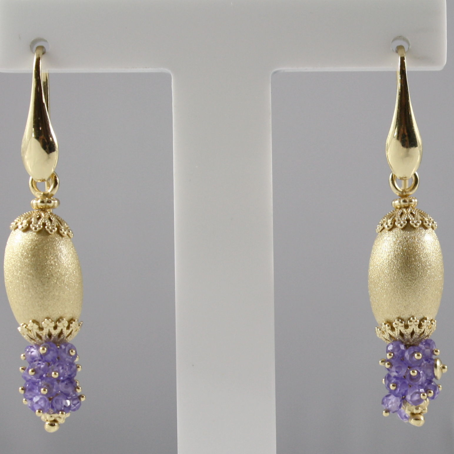 925 SILVER EARRINGS PLAT. GOLD, FACETED AMETHYST, MADE IN ITALY BY SAVOIA JEWEL