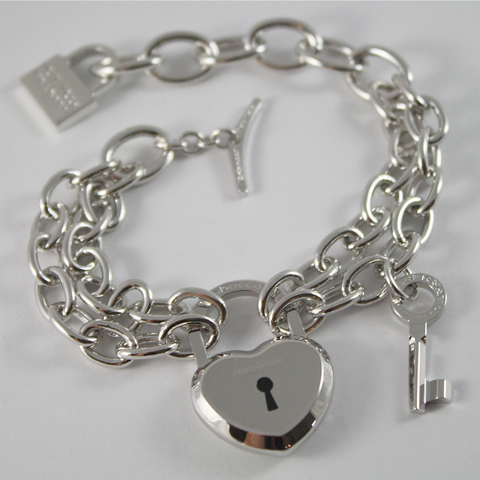 WHITE GOLD PLATED BRONZE REBECCA BRACELET LOVE LOCK BLLBBB24 MADE IN ITALY  7.87
